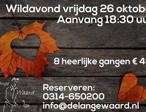 Wildavond op vrijdag 26 oktober om 18:30 uur. 8 gangen € 49,-