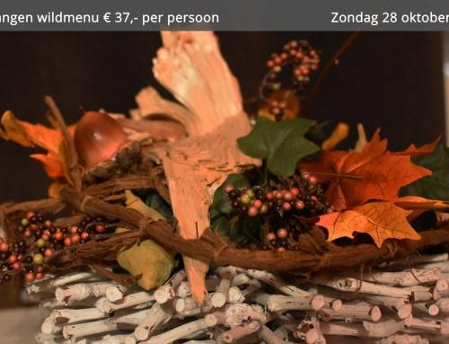 4 gangen wildmenu € 37,- per persoon alleen op zondag 28 oktober.